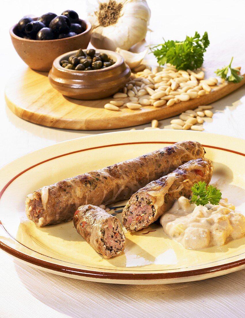 Grilled veal sausage