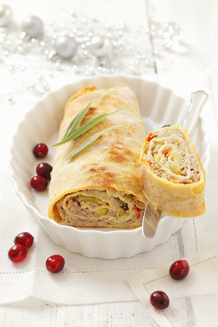 Christmas puff pastry strudel with minced meat