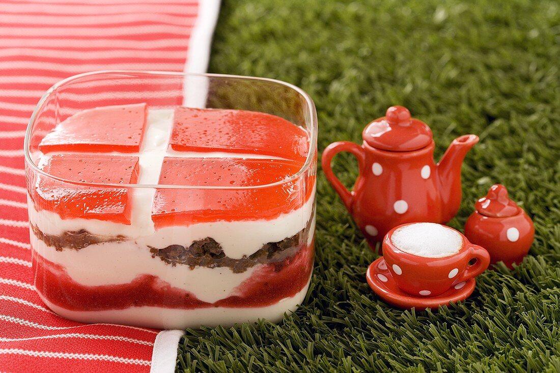 Quark dessert with black bread and fresh cherries (Denmark)