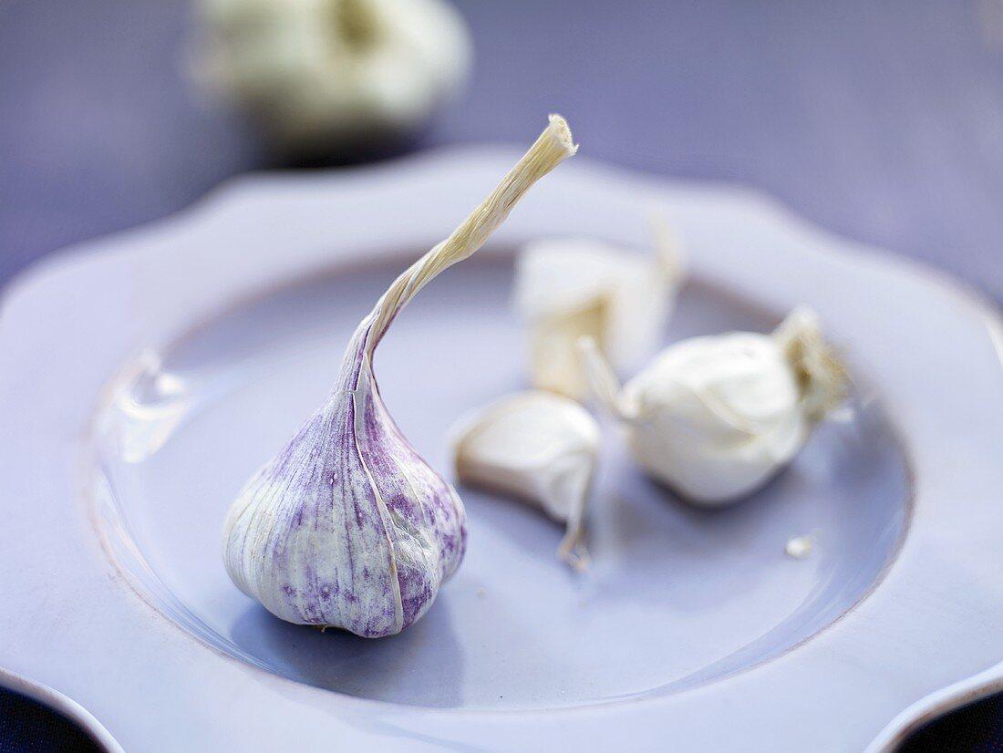 Garlic on a light blue plate