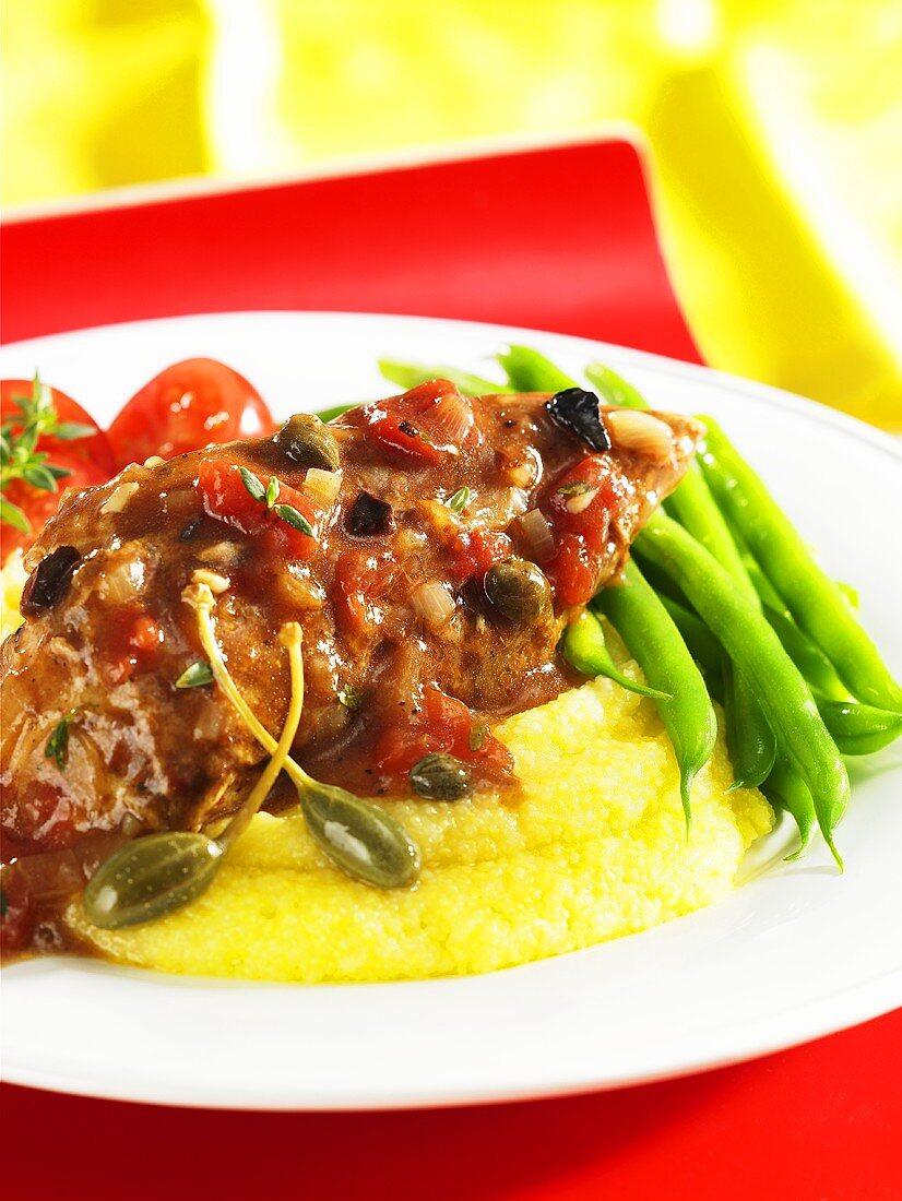 Pollo al balsamico (balsamic chicken with capers)