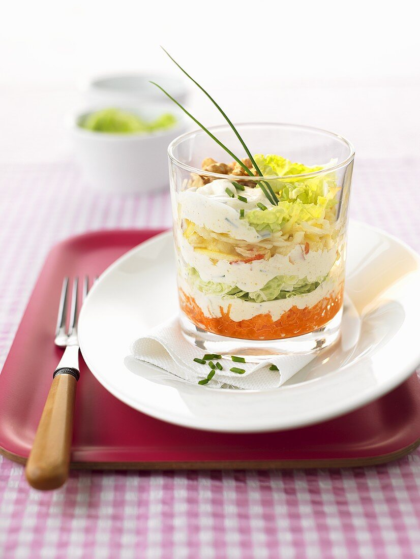 A layered salad with Chinese cabbage
