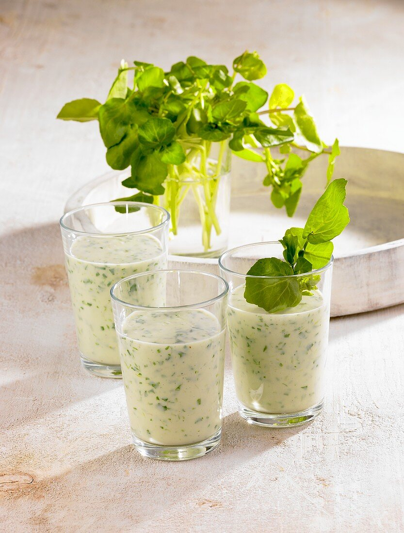 Avocado drinks with water cress