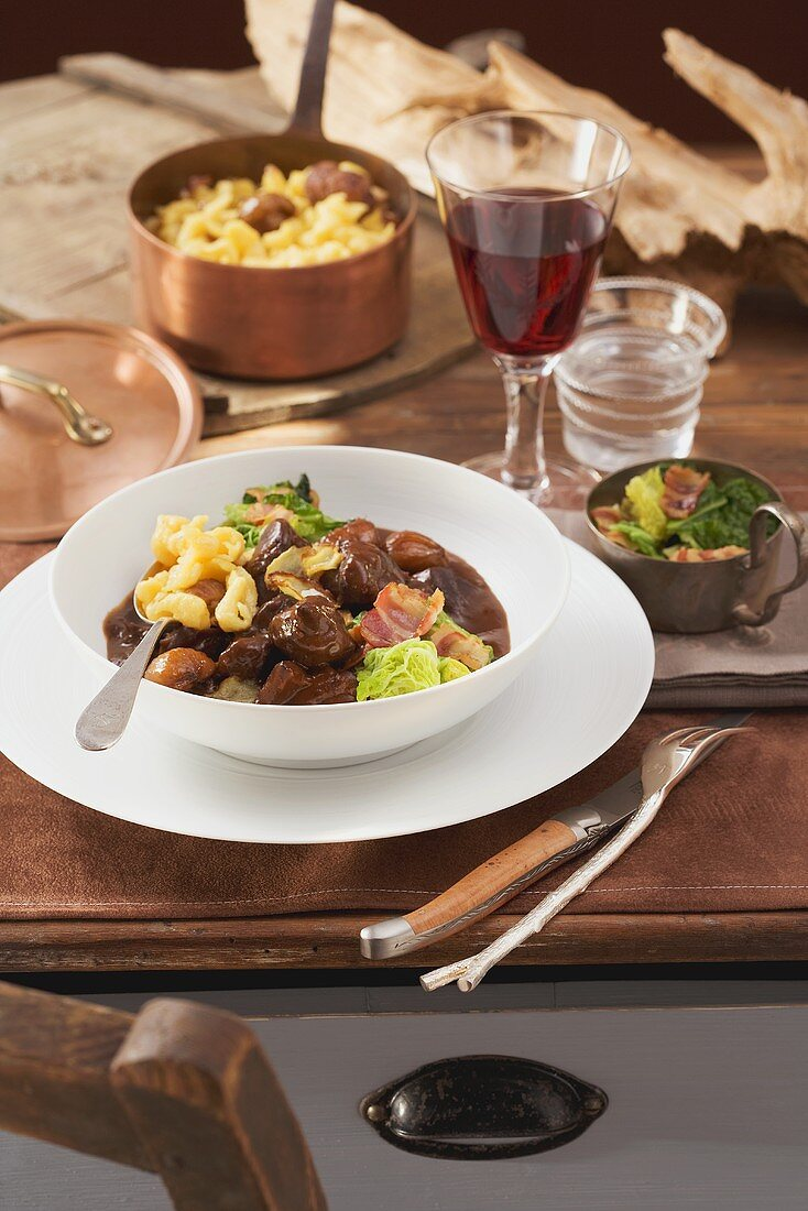 Venison ragout with chocolate sauce and spätzle (soft egg noodles from Swabia)