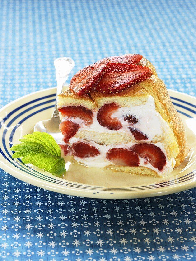 Strawberry charlotte on a dessert plate
