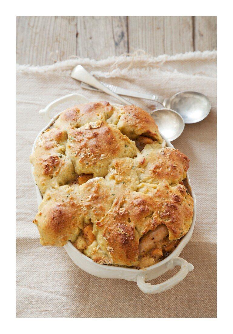 Chicken bake with apple dumplings