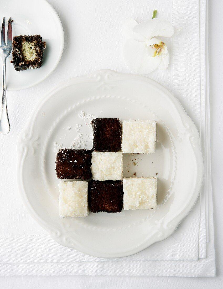 Chessboard dessert (Lamingtons and coconut ice cream)