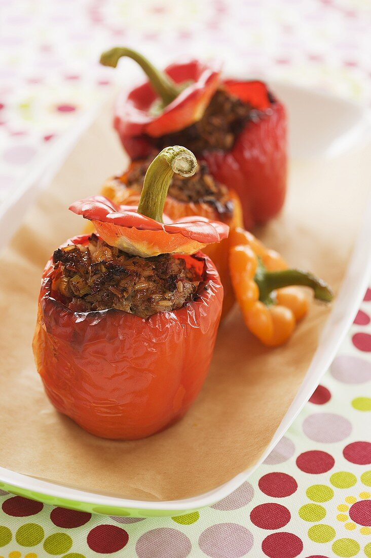 Red peppers with mince stuffing