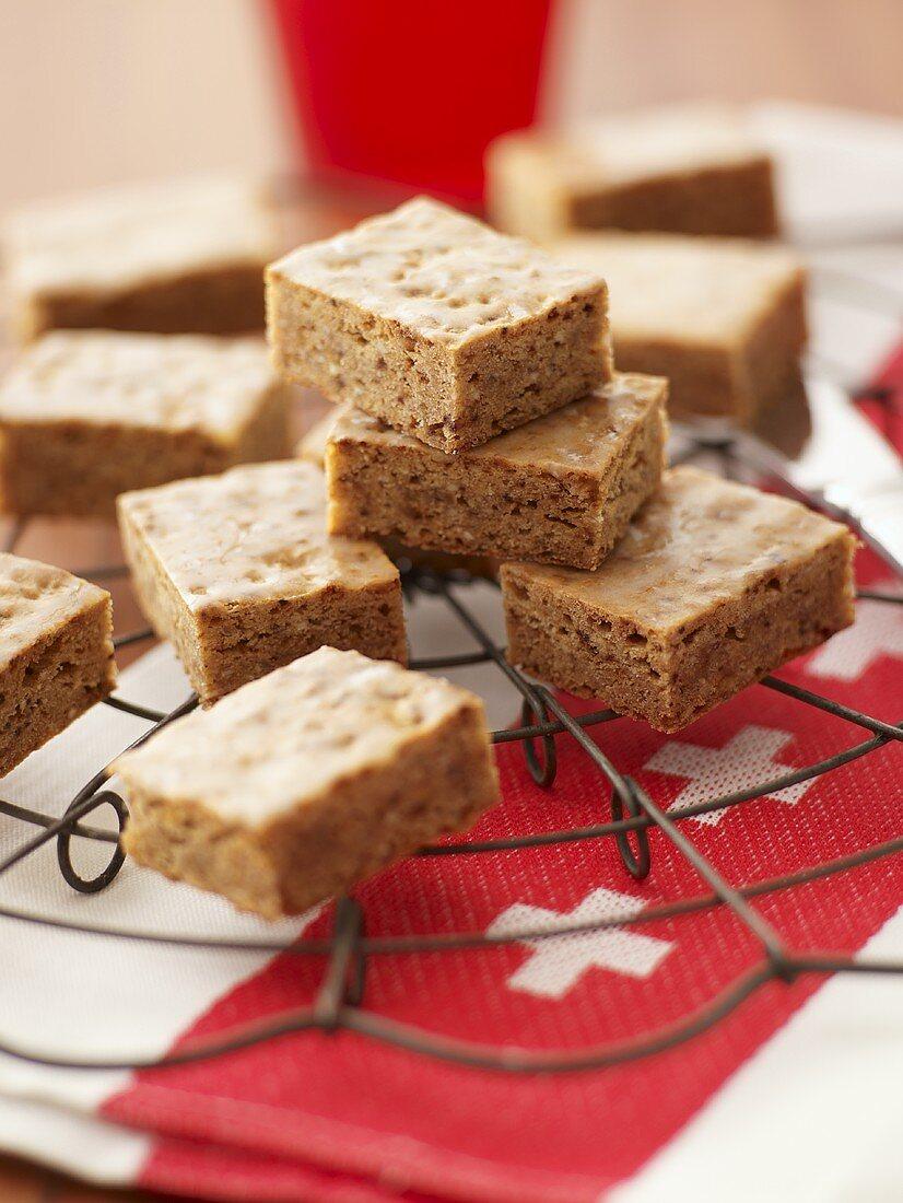 Basler Leckerli (spiced cookie squares) on cake rack