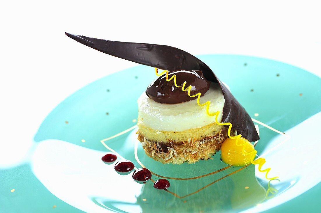 Coconut cake with peach parfait and chocolate cream