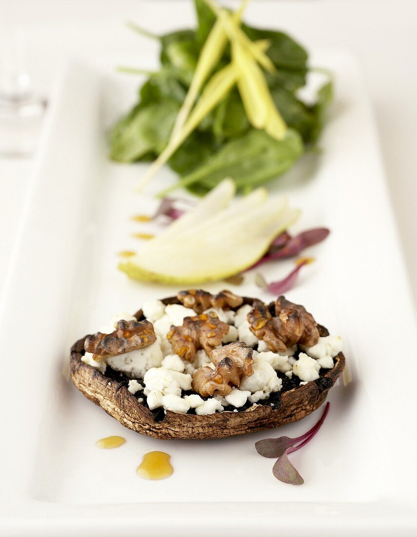 Baked mushroom with cheese & walnuts, spinach salad & pear