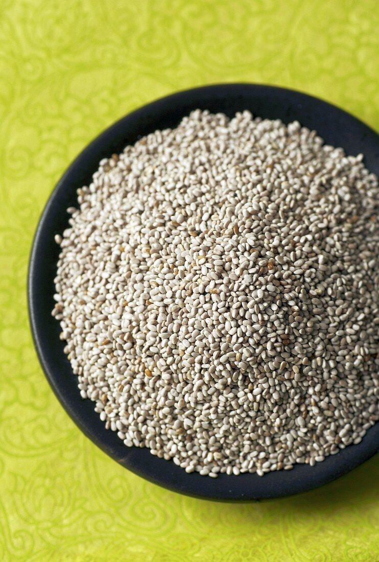 A dish of chia seeds (Salvia hispanica)