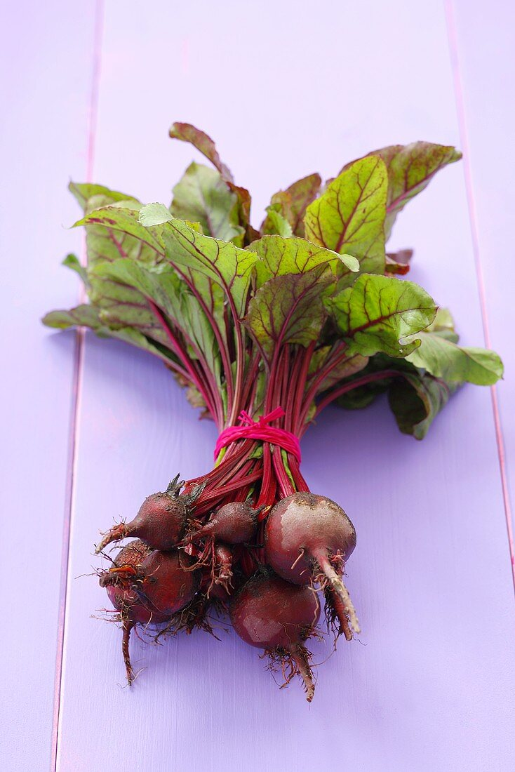 A bunch of fresh beetroot