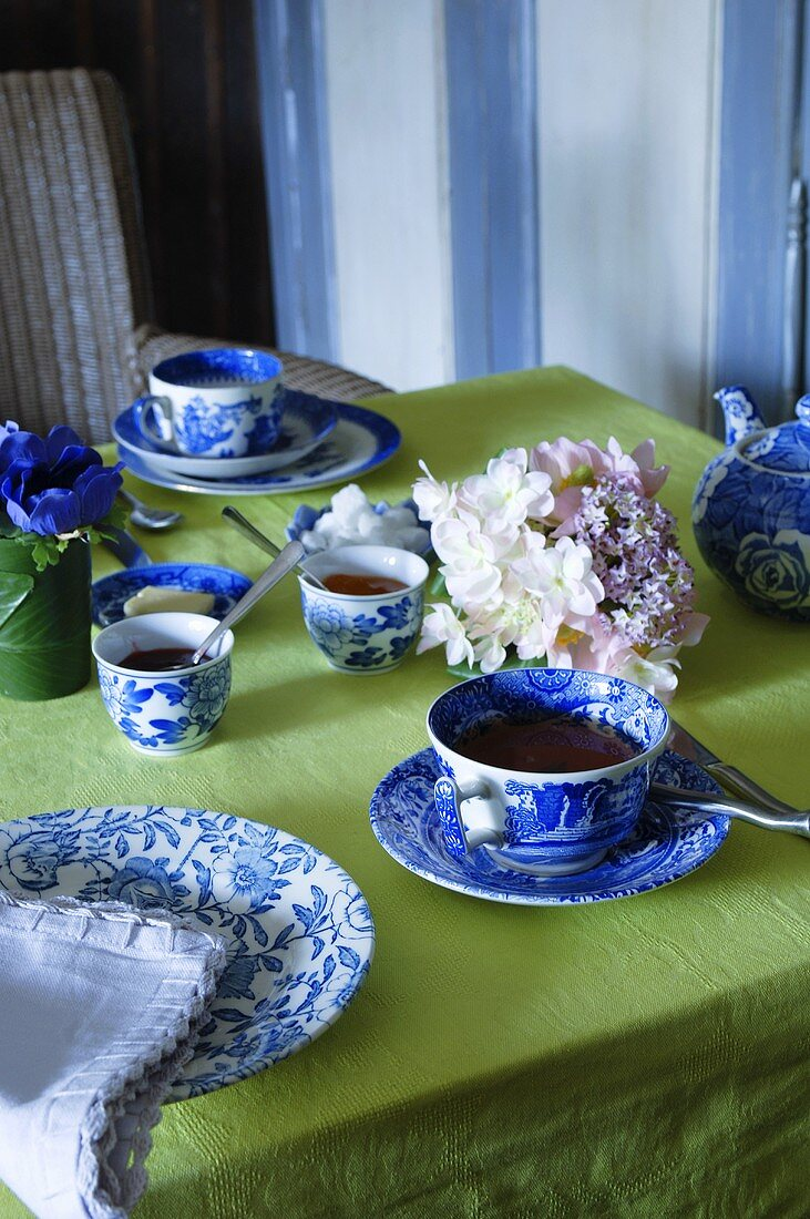 Tea table with floral decoration