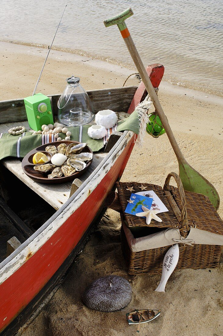 Picnic in a boat on a sandy beach