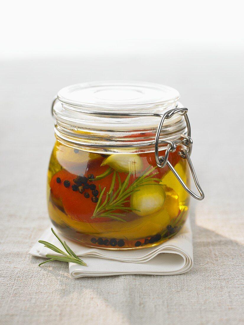 Pickled vegetables in preserving jar