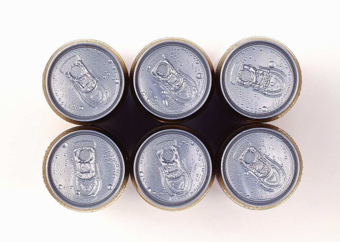 Six cans of beer from above