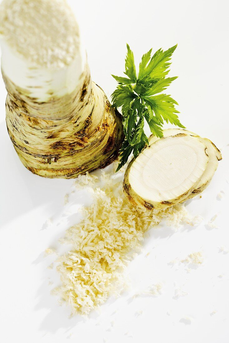 Horseradish, a root and grated
