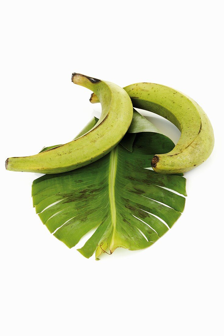 Plantains from Ecuador with banana leaf