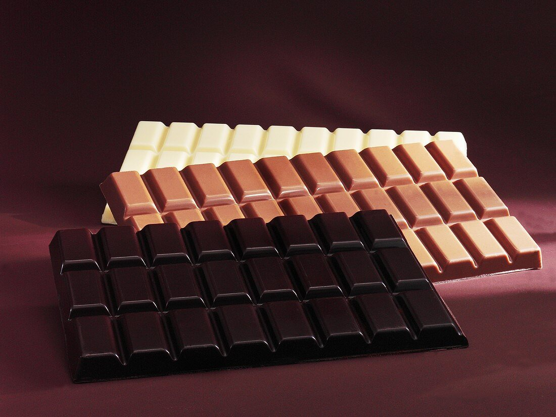 Three bars of chocolate (dark, milk and white)