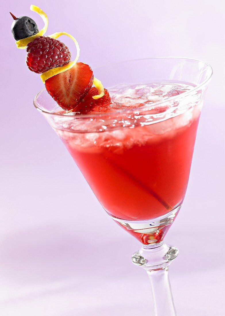 Cocktail made with Krupnik (Polish honey liqueur) & cranberry juice