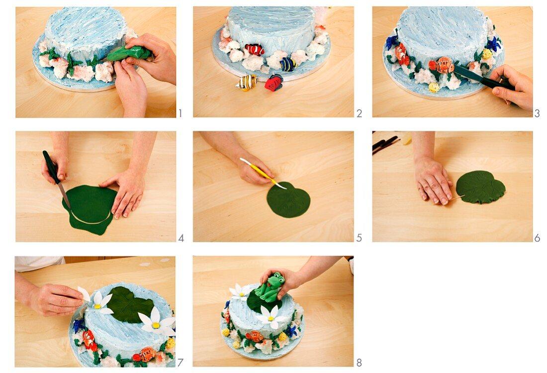 Decorating a pond cake