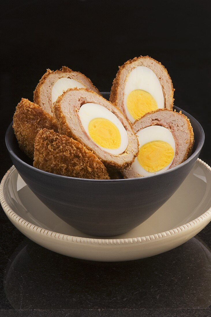 Scotch eggs (Hard-boiled eggs wrapped in sausagemeat, UK)