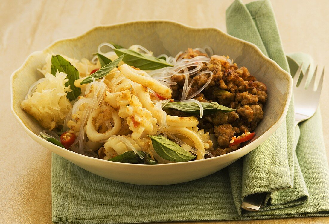 Glass noodles with calamares
