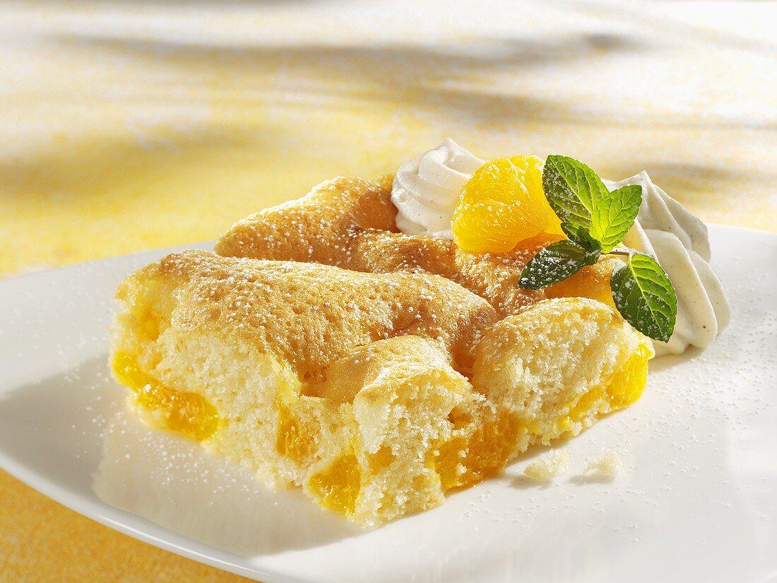 Piece of Fanta cake with mandarin oranges