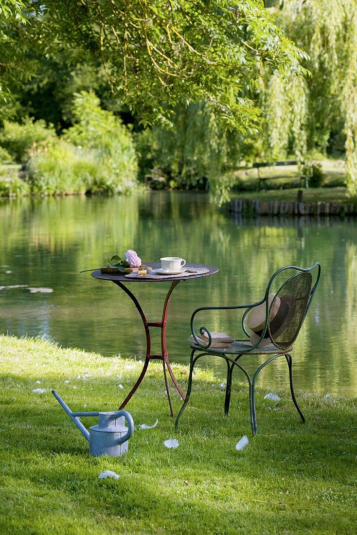 Table laid for coffee and chair by pond in romantic garden