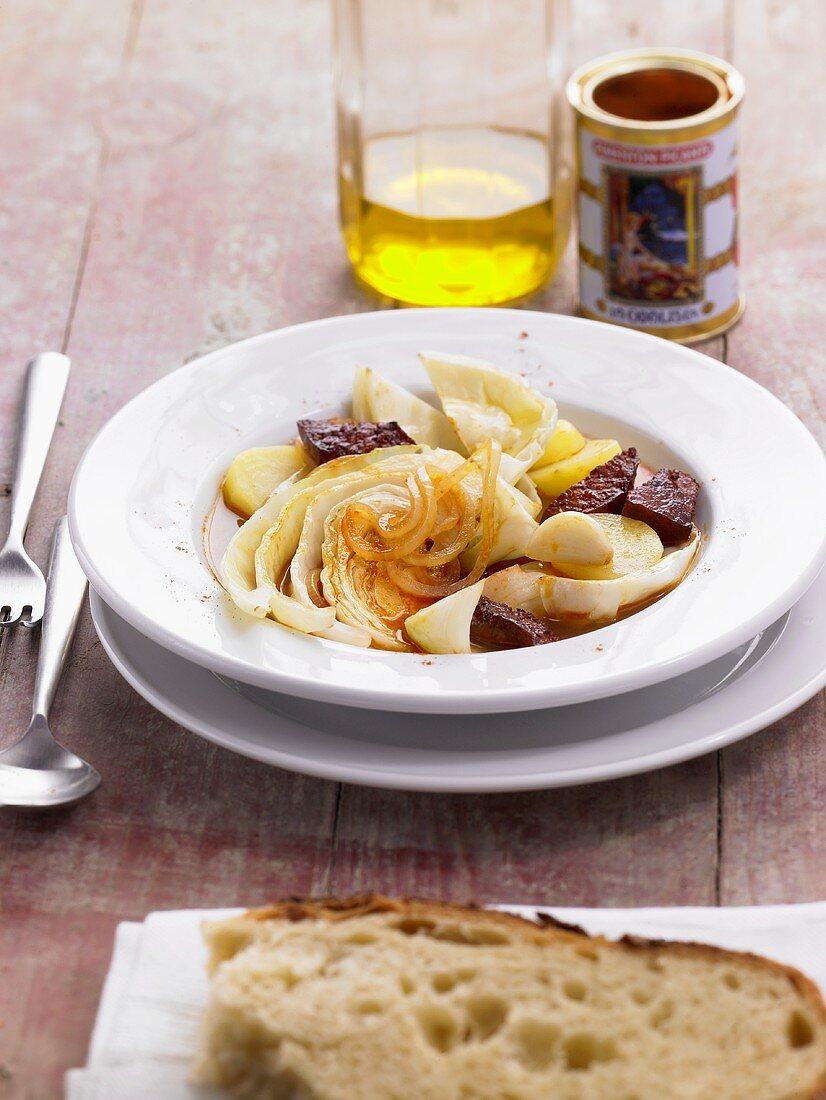 Cabbage stew from Asturias (Spain)