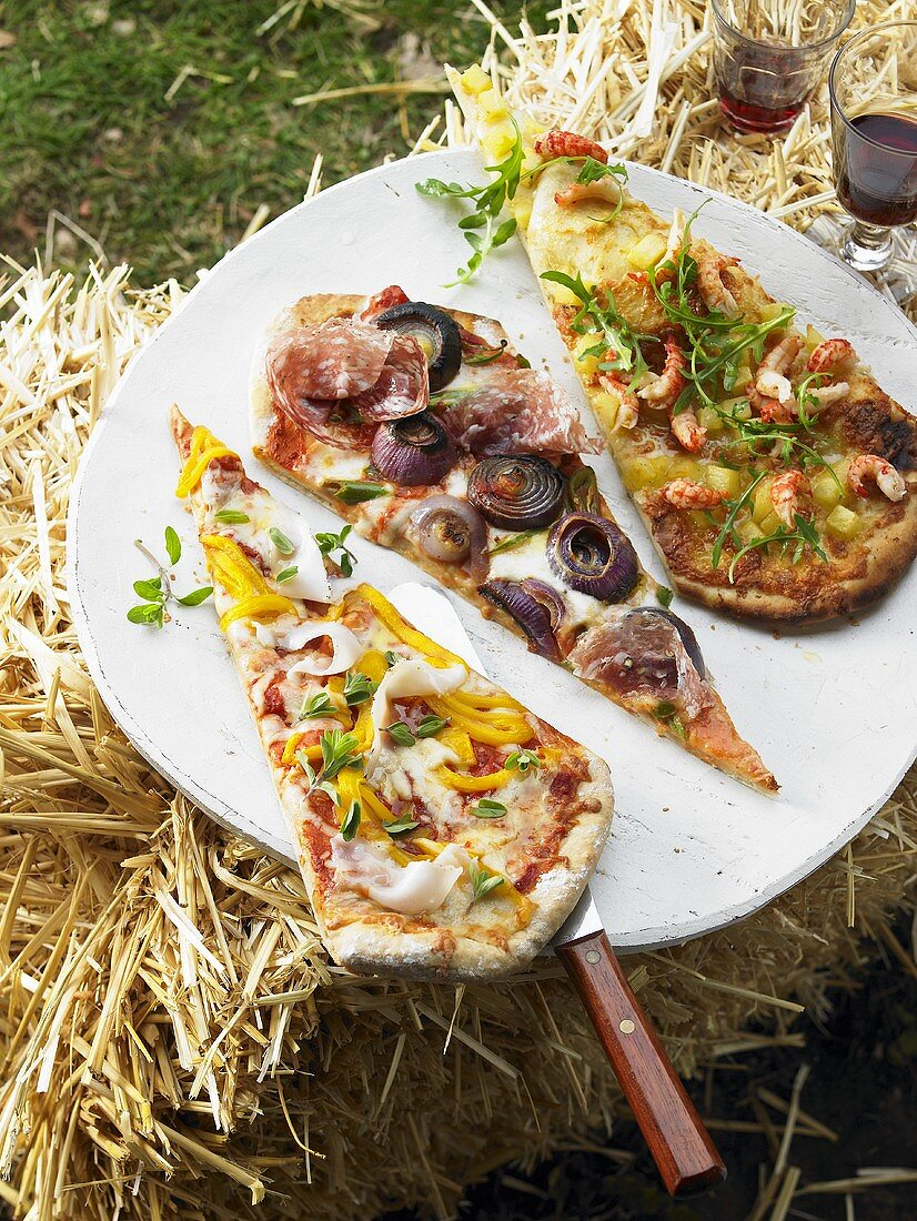 Pieces of three different pizzas on plate on bale of straw