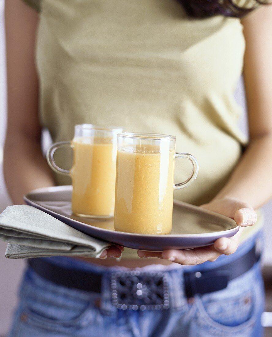Orange and mango smoothies