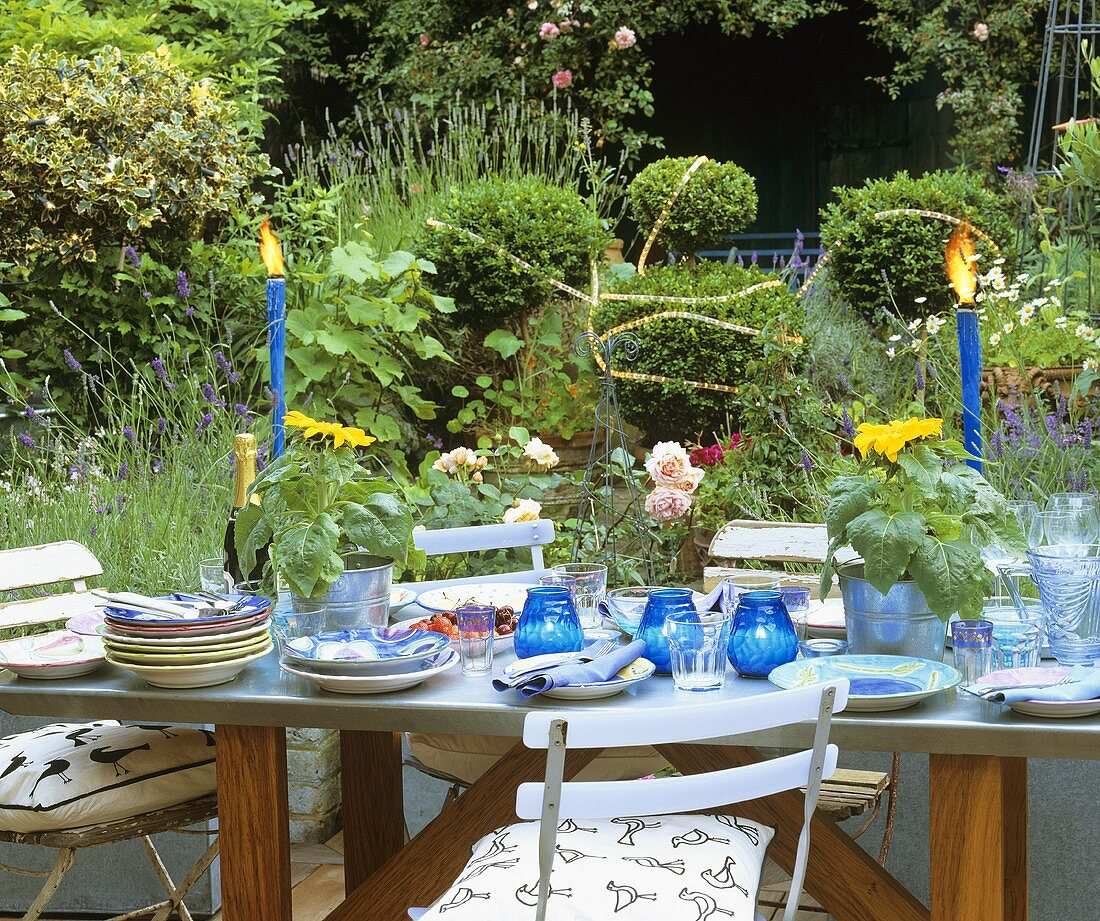 Laid table with fruit and sunflowers in the open air