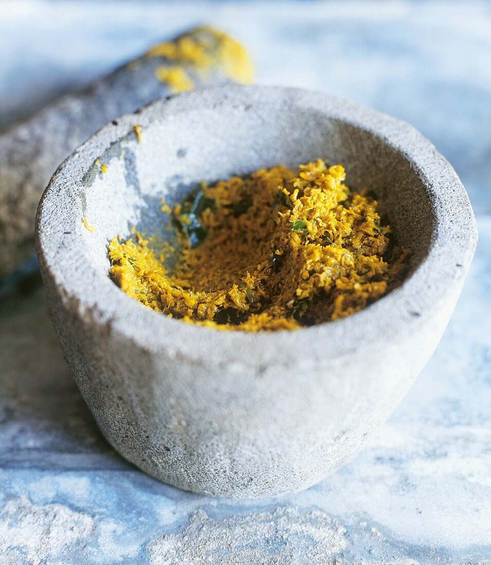 Curry paste in a stone mortar