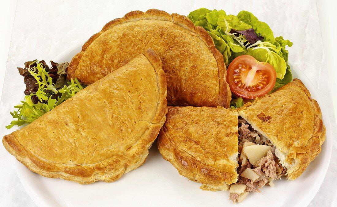 Three Cornish pasties (Meat & vegetable pasties, Cornwall, England)