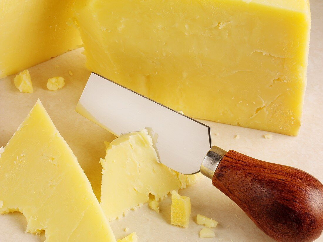 Cheese knife in a piece of Cheddar cheese