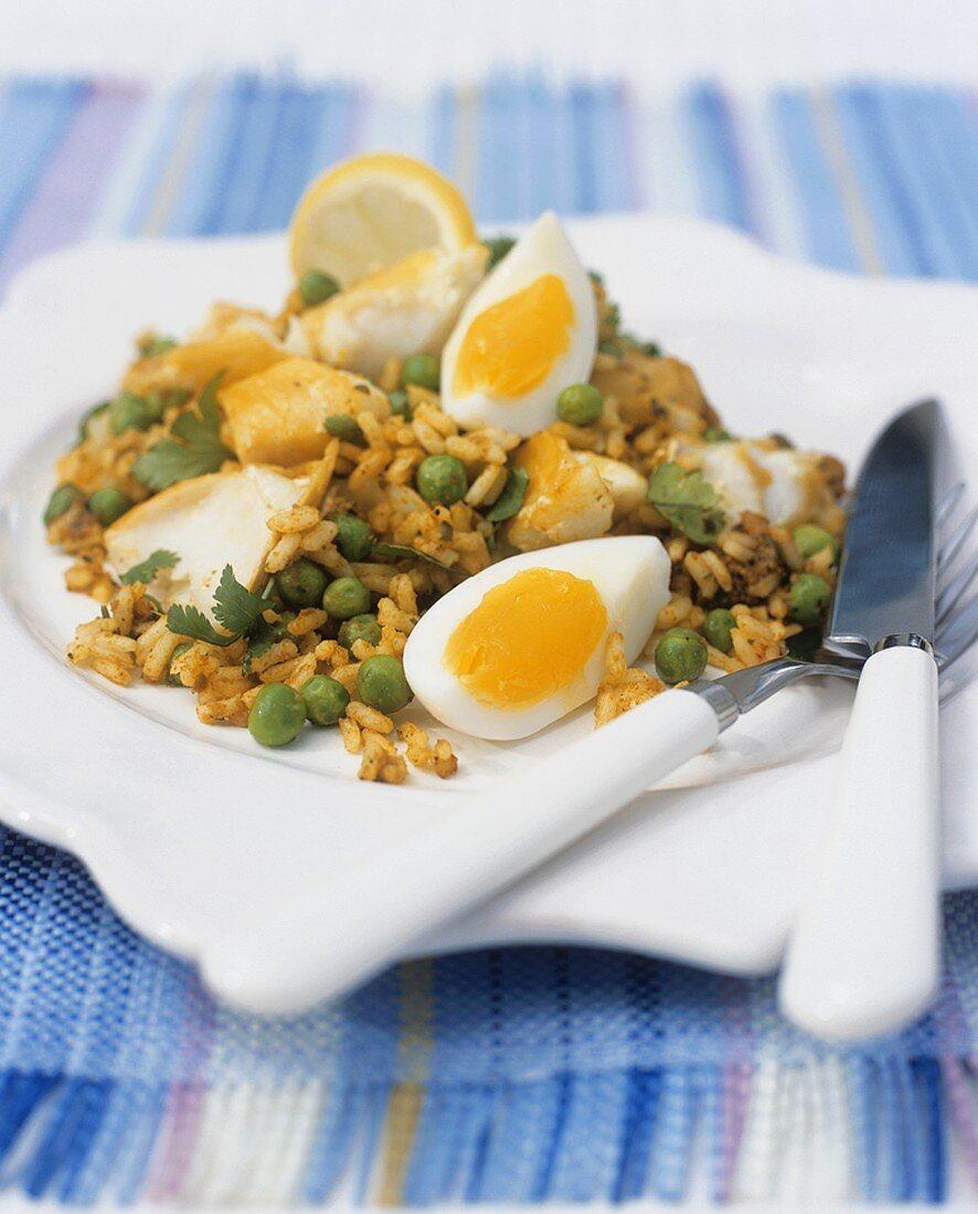 Kedgeree (Rice dish with smoked fish and egg)