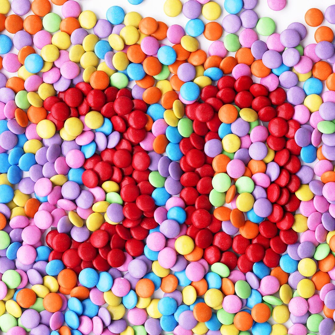 Coloured chocolate beans with the number '30'