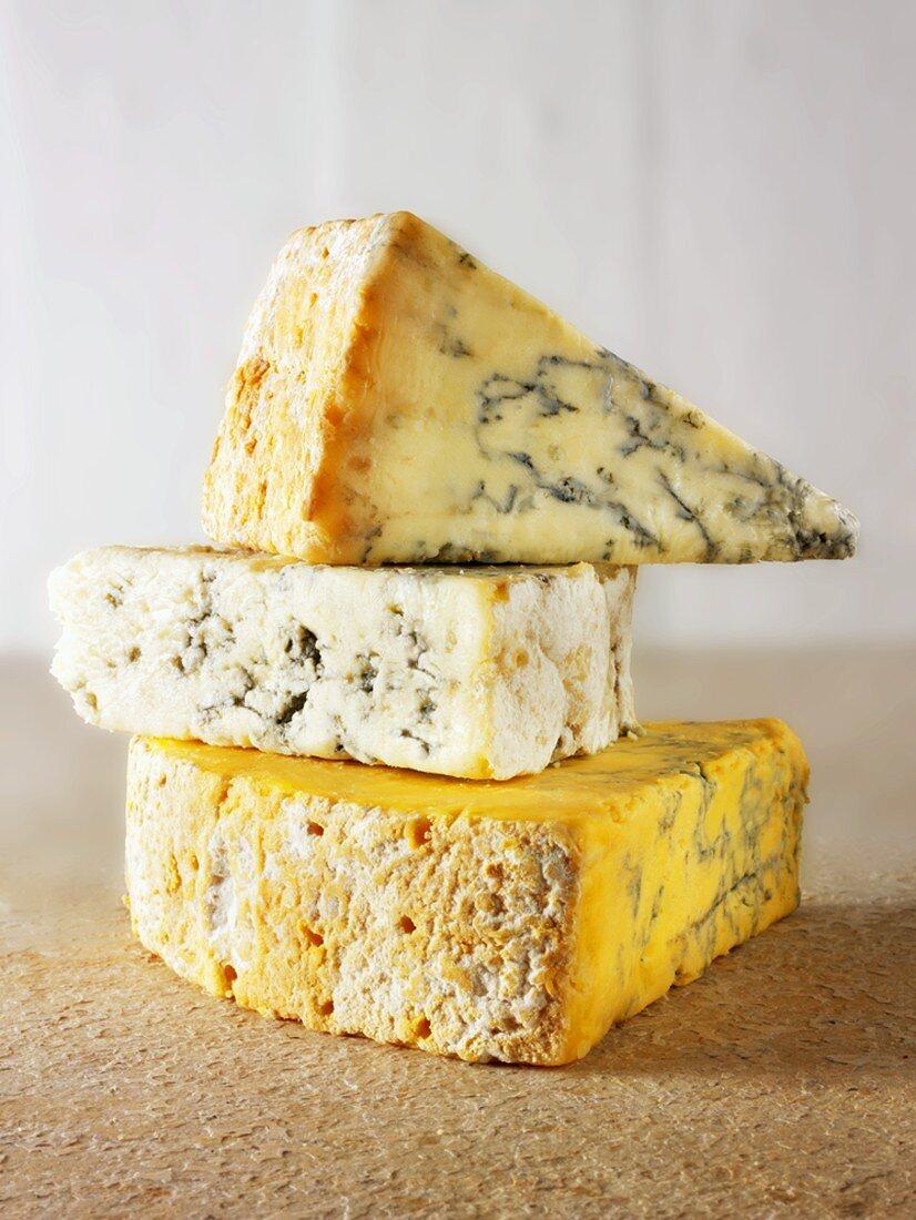 English cheeses: Stilton, Blue Vinney and Blue Shropshire