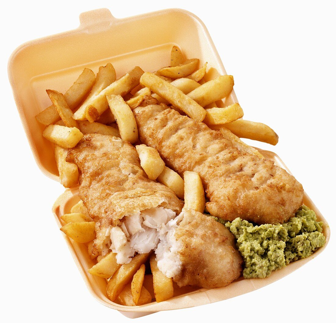 Fish and chips with mushy peas to take away