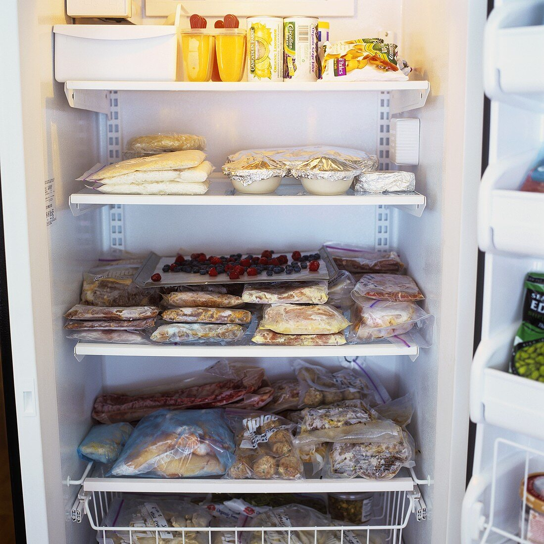 Open freezer full of food