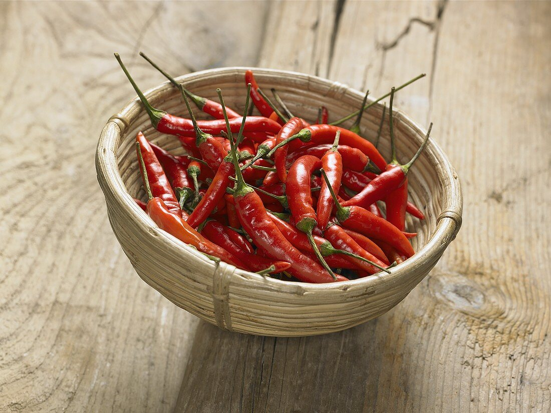 Red chillies in a small basket