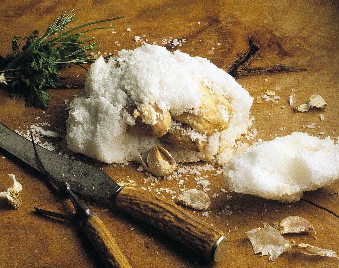 Poussin in salt crust