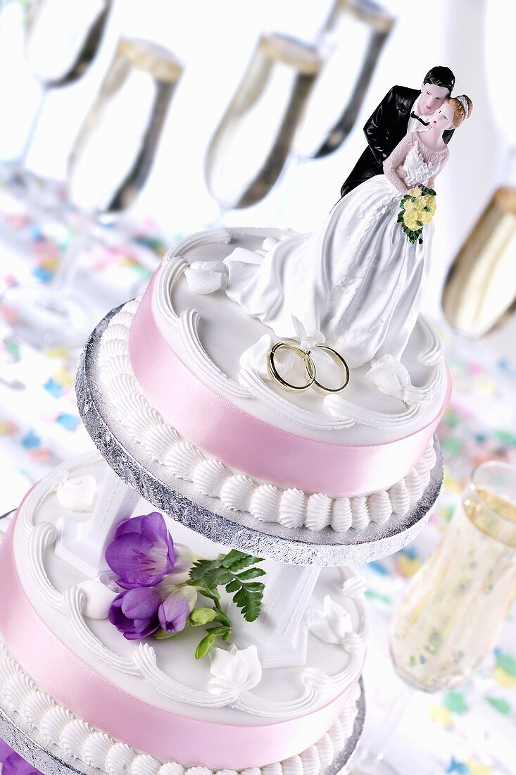 A wedding cake with floral decoration