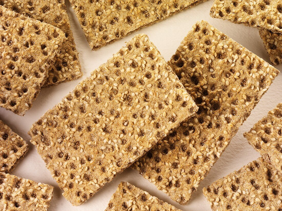 Scandinavian crispbread with sesame seeds