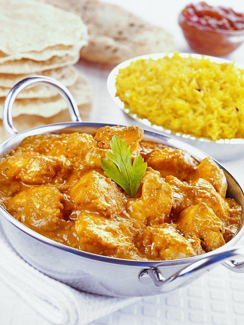 Chicken tikka masala with saffron rice (India)