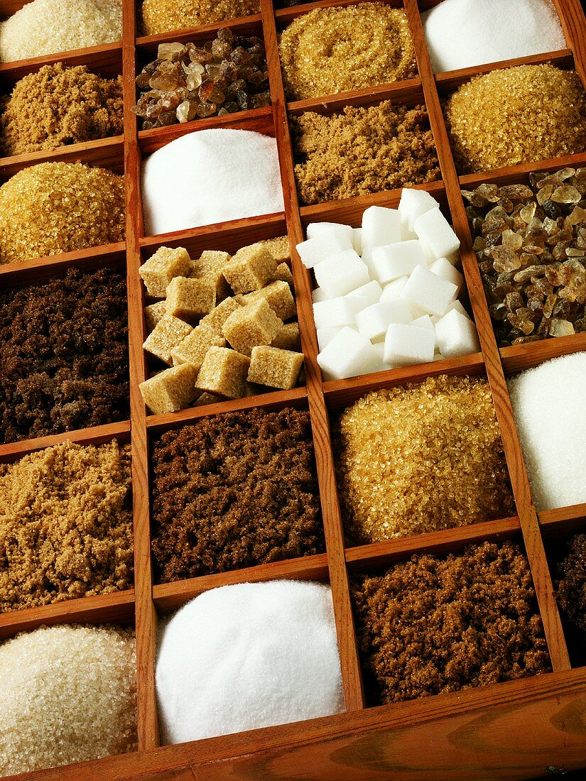 Various types of sugar in a typesetter's case