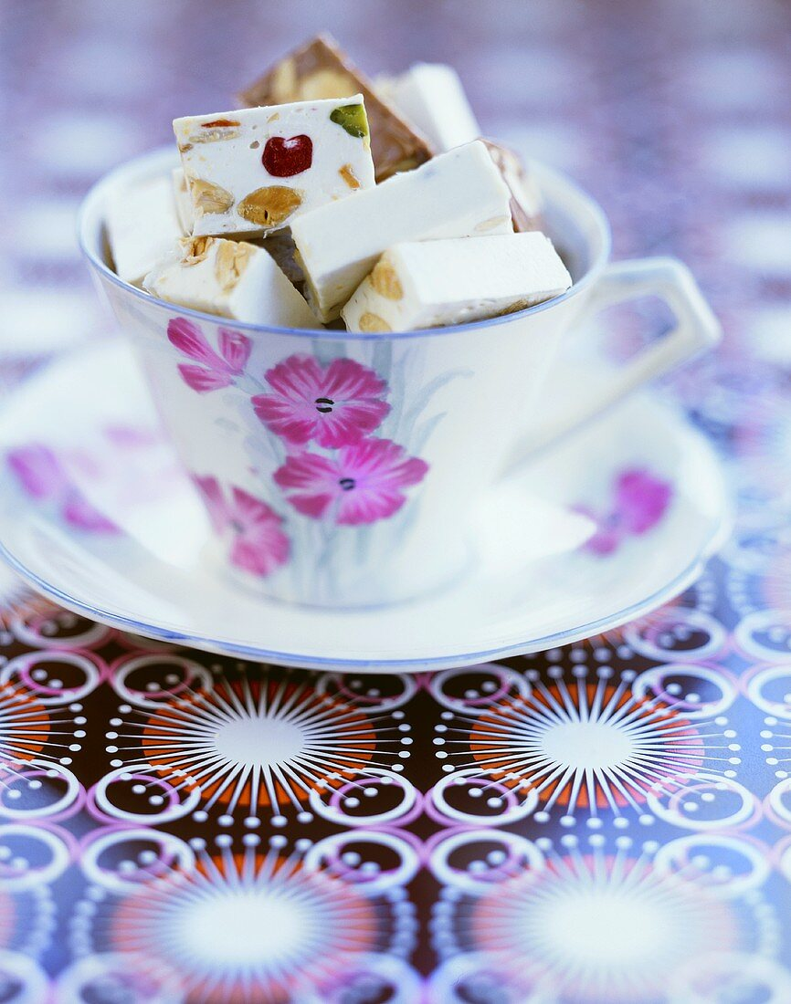 White nougat with almonds, pistachios and candied fruit