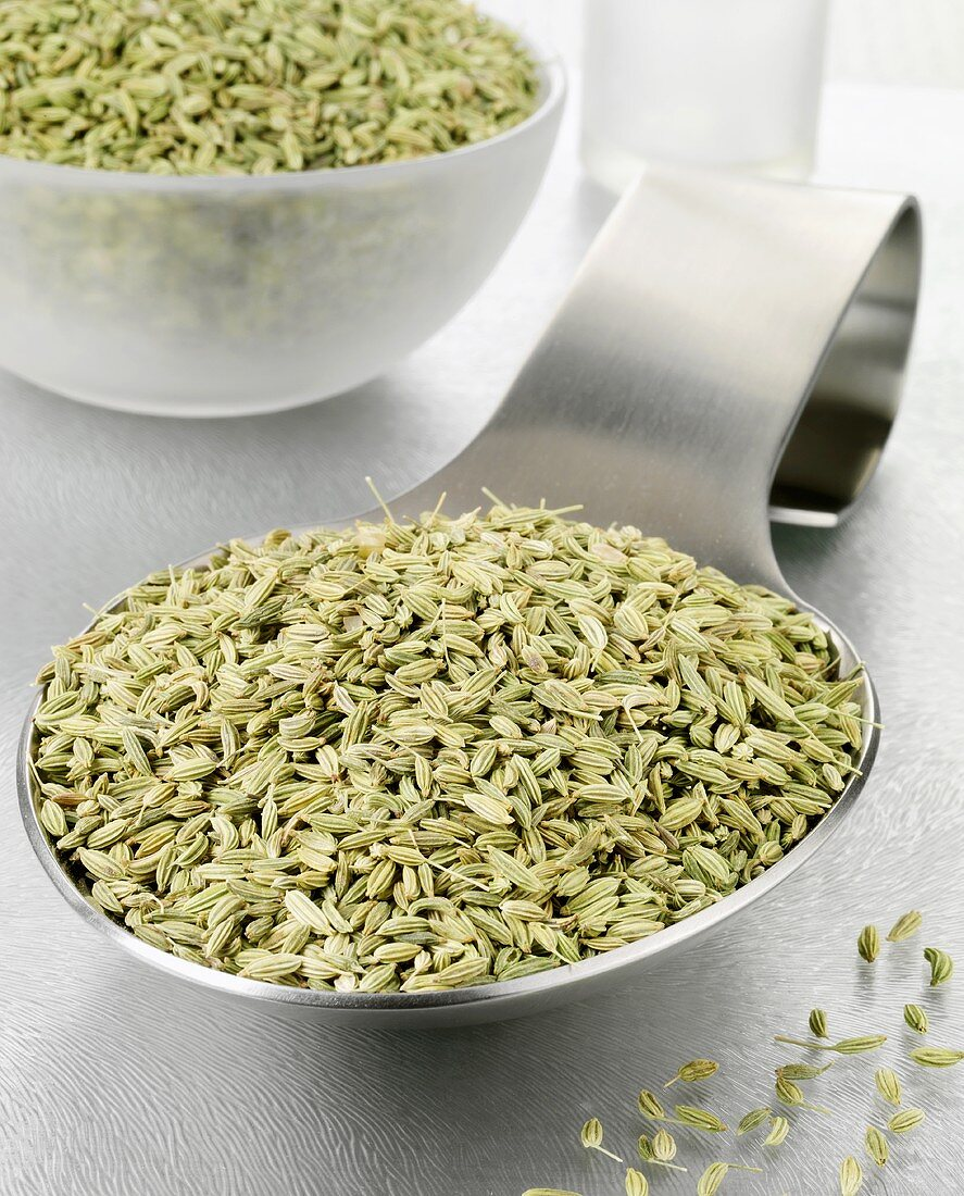 Fennel seeds on a spoon and in a bowl